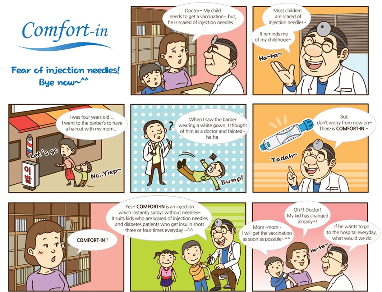 Cartoon about comfort-in : Fear of injection needles! buy now~^^